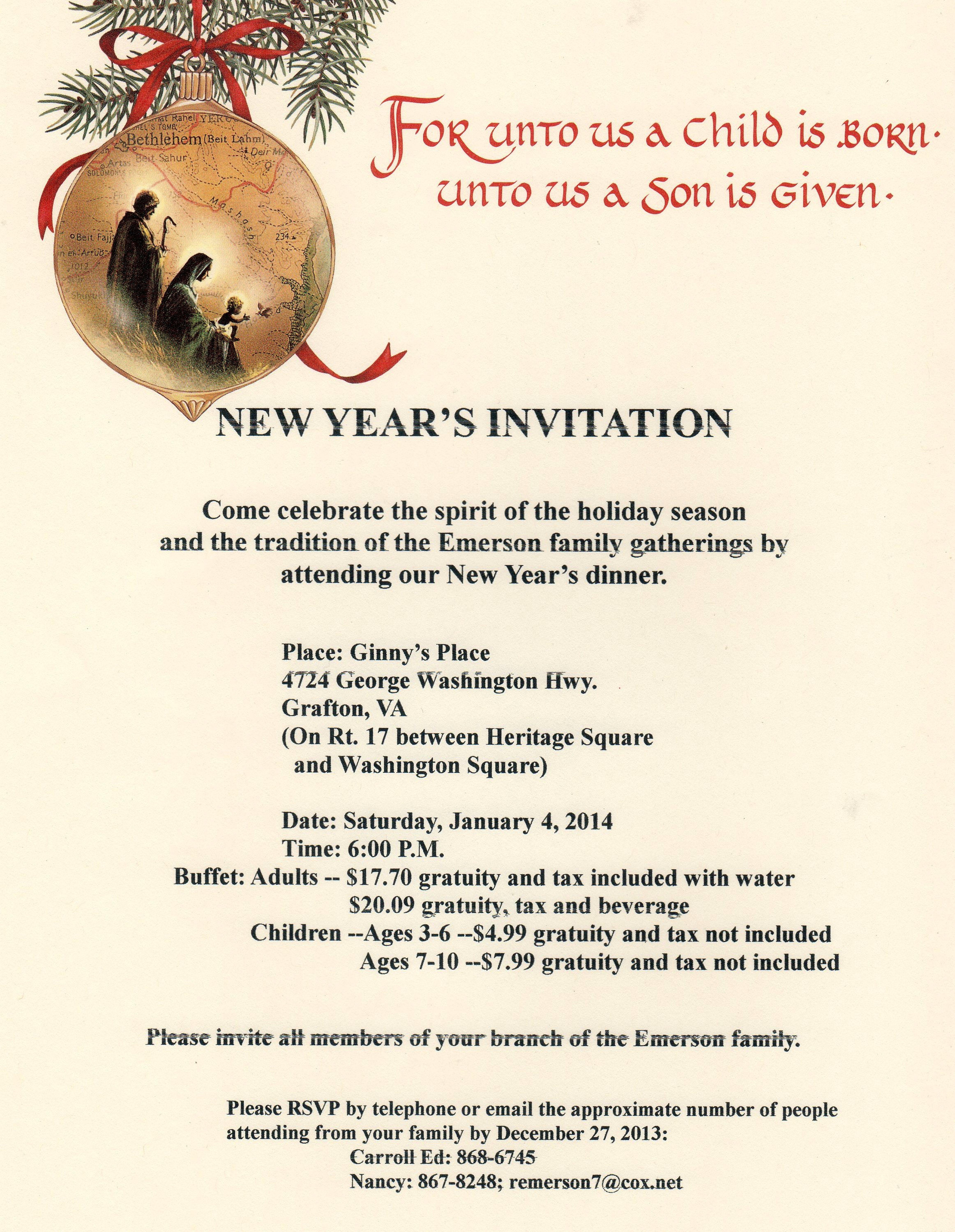 New years 2014 invitation emerson family news new years 2014 stopboris Choice Image
